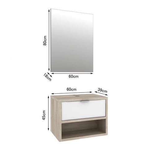 Imagem de Gabinete para Banheiro 1 Gaveta com Espelho e Cuba Malta Móveis Bosi Barrique/Branco Brilho