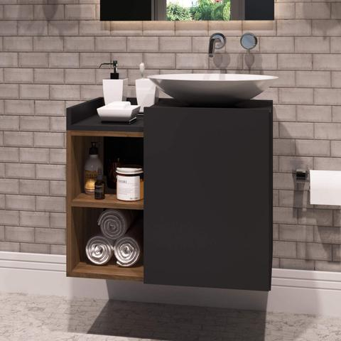 Imagem de Gabinete para Banheiro 1 Porta Beto Estilare Móveis Preto/Madeirado