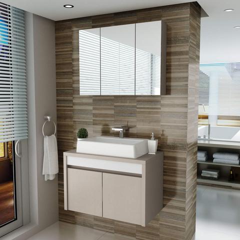 Imagem de Gabinete para Banheiro 2 Portas com Cuba e Espelheira Paris Balcony Connect