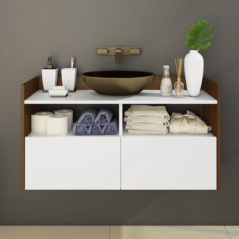 Imagem de Gabinete para Banheiro com 2 Portas Suspenso Cacau - Estilare