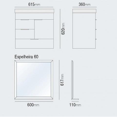 Imagem de Gabinete para Banheiro com Cuba e Espelheira 3 Gavetas Club Kit (Não Acompanha Torneira) Bumi Mosaico