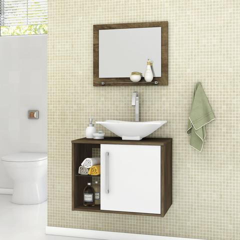 Imagem de Gabinete para Banheiro com Cuba e Espelheira Baden Móveis Bechara Madeira Rústica/Branco