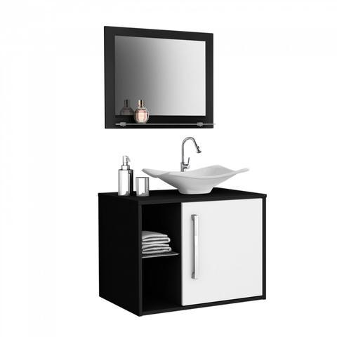 Imagem de Gabinete para Banheiro com Cuba e Espelheira Baden Móveis Bechara Preto/Branco