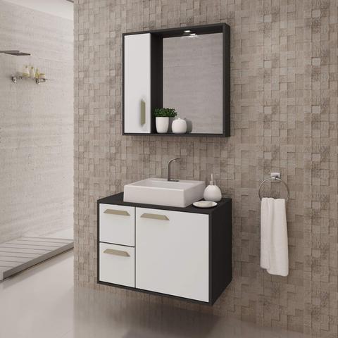 Imagem de Gabinete para Banheiro com Cuba e Espelheira Lux 75 Balcony Branco Supremo/Grafen