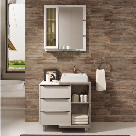 Imagem de Gabinete para Banheiro com Cuba e Espelheira Mônaco 80 Balcony Branco Supremo/Arinto
