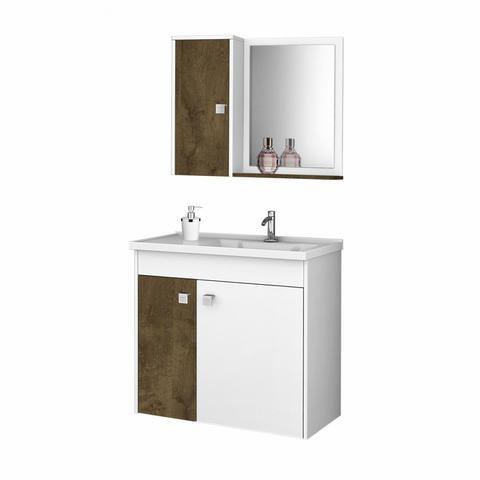 Imagem de Gabinete para Banheiro com Cuba e Espelheira Munique Móveis Bechara Madeira Rústica/Branco