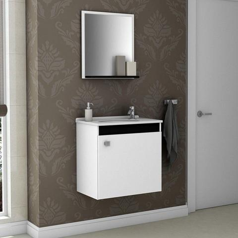 Imagem de Gabinete para Banheiro com Cuba e Espelheira Siena Móveis Bechara Branco/Preto