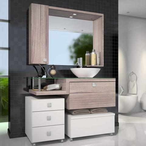 Imagem de Gabinete para Banheiro com Espelheira Vicenza sem Cuba Siena Móveis Branco/Nogal Griss