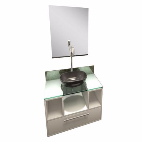 Imagem de Gabinete para Banheiro Cuba com Espelho Tampo Vidro Bahrein I7 Branco