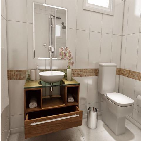Imagem de Gabinete para Banheiro Cuba com Espelho Tampo Vidro Bahrein I7 Marrom