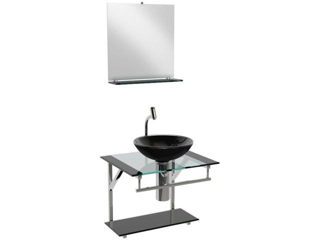 Imagem de Gabinete para Banheiro de Vidro com Cuba e Espelho