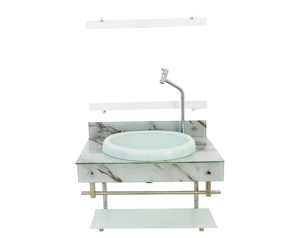 Imagem de Gabinete para banheiro de vidro iqxx 60cm inox com cuba chapeu - mármore branco