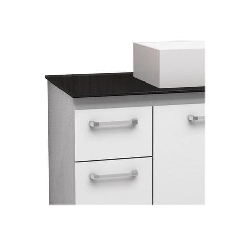 Imagem de Gabinete para Banheiro em Aço com Tampo de Vidro Figo 60,8cm Branco E Preto