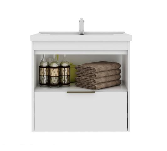 Imagem de Gabinete Para Banheiro Lavanda 59 Cm Frente Vidro MGM Móveis Amendoa/Branco