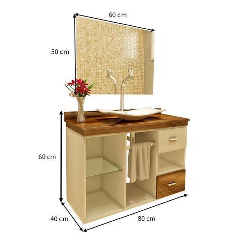 Imagem de Gabinete Para Banheiro Mizu Nogal Com Espelho e Cuba - Premium Gabinetes