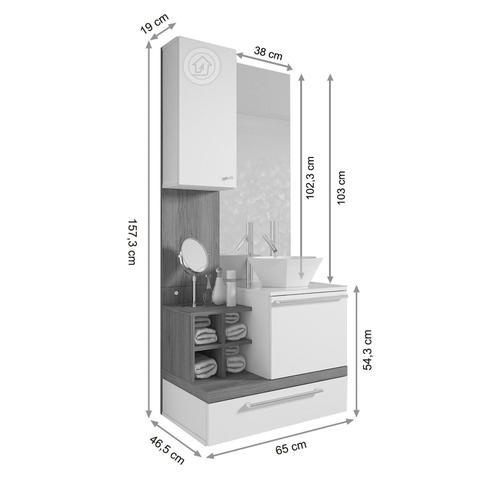 Imagem de Gabinete para Banheiro sem Cuba com Espelheira Ravenna Siena Móveis Branco/Nogal Sevilha
