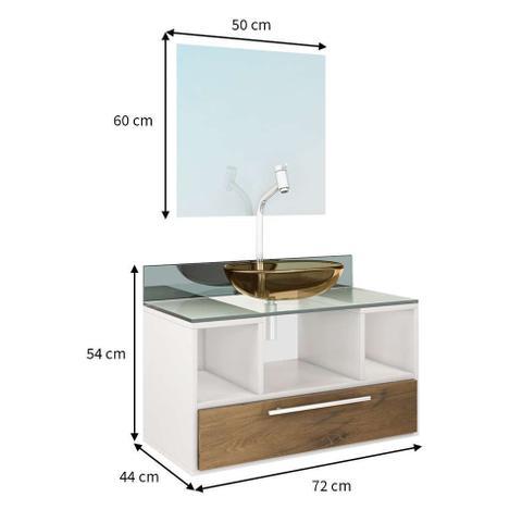 Imagem de Gabinete Para Banheiro Taiyo Branco Com Gaveta Nogal Com Espelho e Cuba - Premium Gabinetes