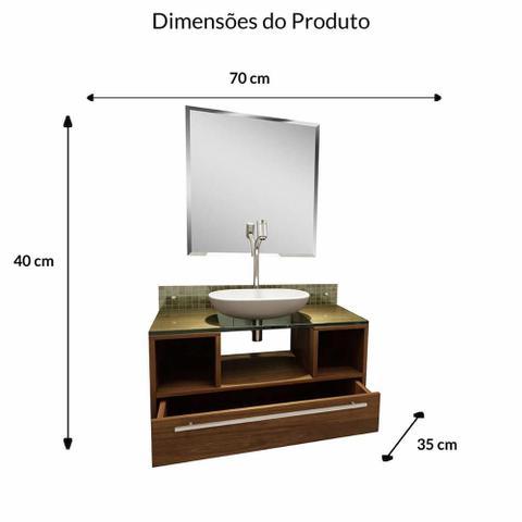 Imagem de Gabinete Para Banheiro Taiyo Com Espelho e Cuba - Nogal - Premium Gabinetes