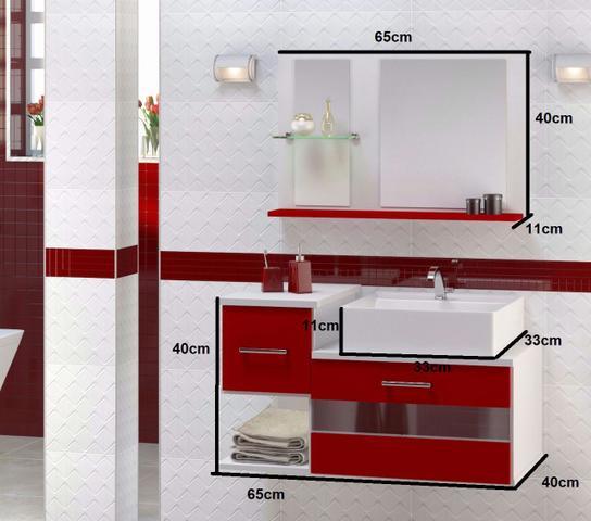 Imagem de Gabinete Para Banheiro Tróia com Cuba e Espelheira - VERMELHO