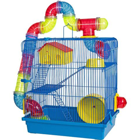 Imagem de Gaiola 3 Andares Para Hamster Azul Jel Plast