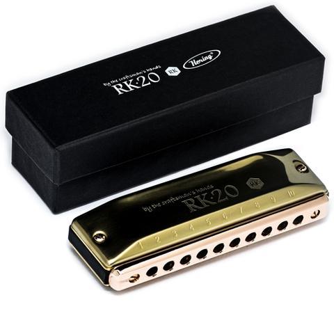 Imagem de Gaita Hering Custom Shop Diatônica Rk Dourada C Dó Rk201c + Case
