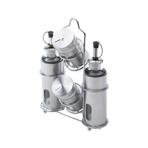 Imagem de Galheteiro 4 peças em aço inox e vidro com suporte Pointer Bon Gourmet - 25796