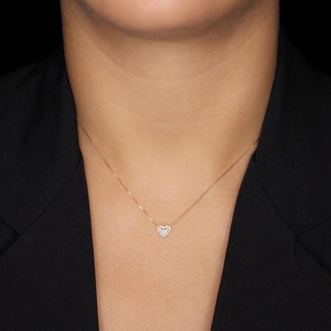 Imagem de Gargantilha em Ouro 18K Coração com Diamantes - AU2367