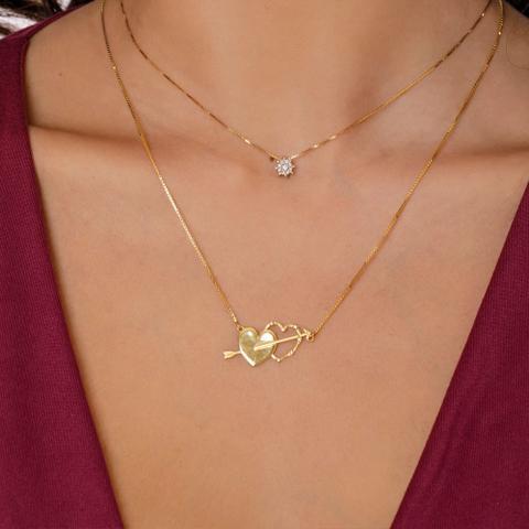 Imagem de Gargantilha em Ouro 18K Corações com Diamantes - AU4499