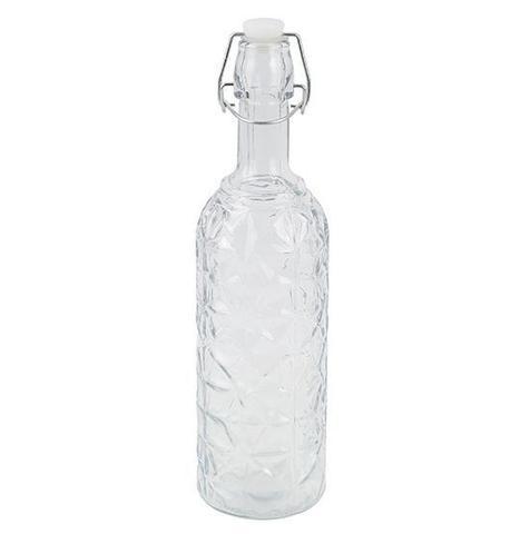 Imagem de Garrafa de vidro relevo transparente com tampa hermetica fecho 720ml