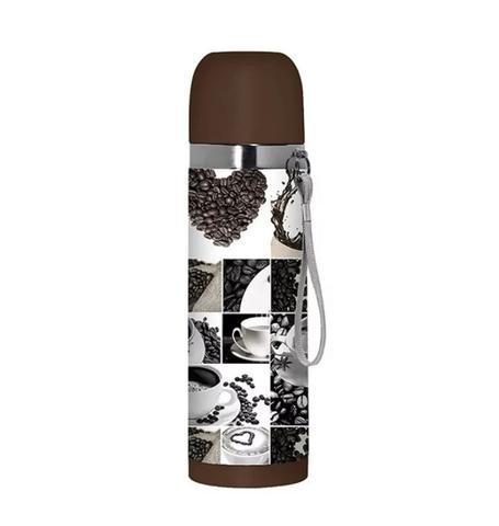 Imagem de Garrafa Termica Inox 500ml Quente Frio Decorada Café Marrom