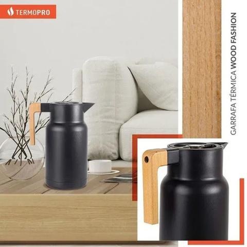 Imagem de Garrafa Térmica Wood Fashion Preto - 1 Litro - Marca Mix