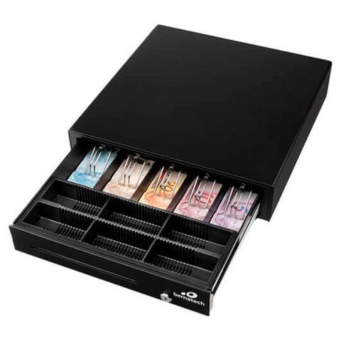 Imagem de Gaveta para Dinheiro Bematech Elgin GD 56, cor preta, acionamento automático e chave