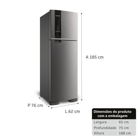 Imagem de Geladeira Brastemp Frost Free Duplex 400 litros cor Inox com Freeze Control - BRM54HK