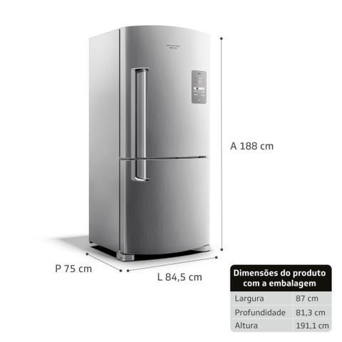 Imagem de Geladeira Brastemp Frost Free Inverse 573 litros cor Inox com Smart Bar