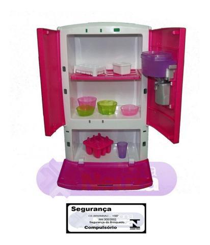 Imagem de Geladeira Refrigerador Infantil 3 Portas Luz Som Agua Na Porta