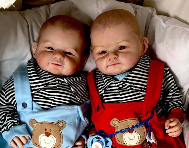 Imagem de Gemeos Reborn Mary  Mark Hair Painting Baby Dolls