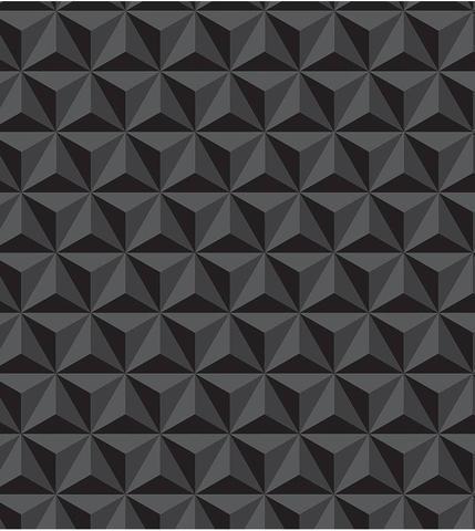 Imagem de Geométrico Preto 3D - Papel de Parede