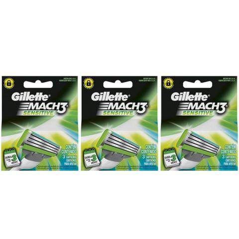 Imagem de Gillette Mach3 Sensitive Carga C/3 (kit C/03)
