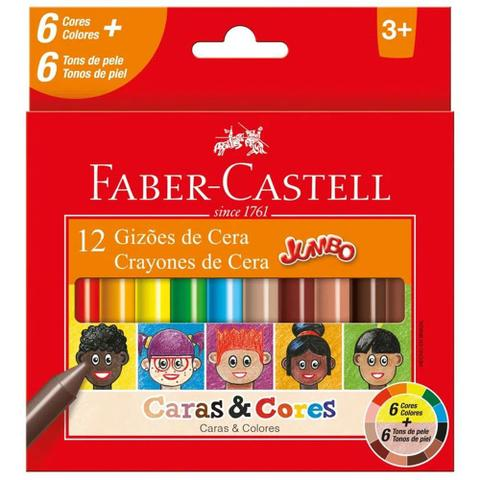 Imagem de Giz de cera 12 cores jumbo Caras e Cores Faber-Castell