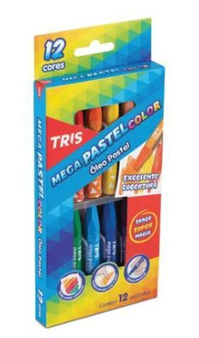 Imagem de Giz de cera - mega pastel color - óleo pastel 12 cores