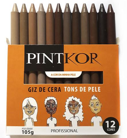 Imagem de Giz de Cera Profissional Tons de Pele Estojo com 12 Cores Pintkor