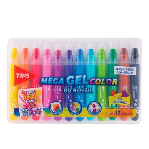 Imagem de Giz De Cera Retrátil Mega Gel Color 12 Cores - Tris