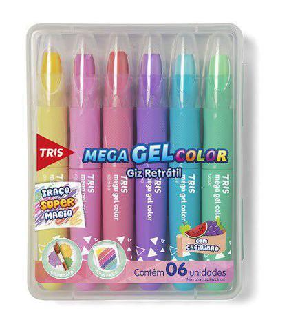 Imagem de Giz retrátil mega gel color pastel 6 cores - tris