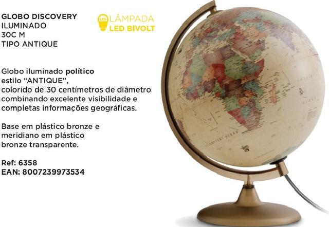 Imagem de Globo Terrestre Político Discovery Iluminado Abajur 30cm