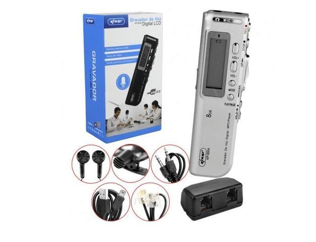 Imagem de Gravador De Voz Espião Digital Mp3 +microfone +fone Knup KP-8004 Prata - Prata
