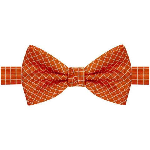 Imagem de Gravata borboleta laranja com listras brancas