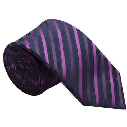 Imagem de Gravata listrada em preto, roxo e rosa