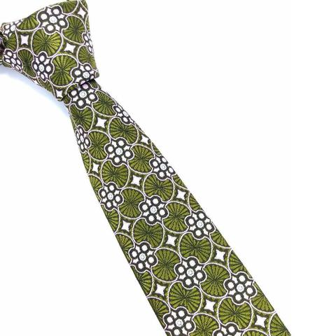Imagem de Gravata Skinny Verde Geométrica Premium