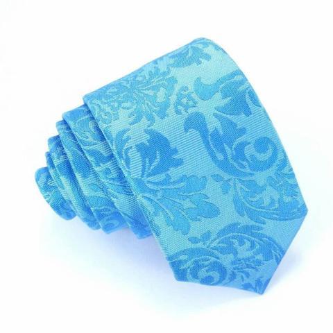 Imagem de Gravata Slim Floral Azul Serenity Luxo - O Gravateiro