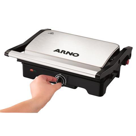Imagem de Grill Arno Dual Gnox com Antiaderente Preto e Inox